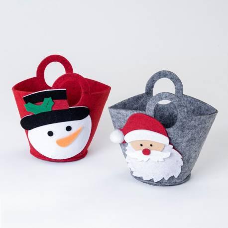 Cestitos de fieltro Muñeco de Nieve y Santa Claus