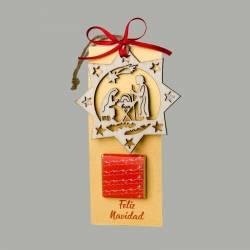 Punto de libro y colgante navideño de madera con 1 bombon