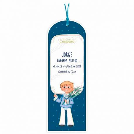 Pack 20 puntos de libro para Comunión niño con Espiga, personalizado.