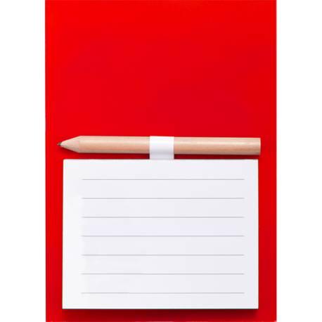 Imán con bloc de notas y lápiz
