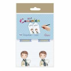 Pack 12 etiquetas colgante de Comunión niño marinero con Cáliz