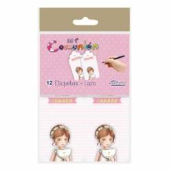 Pack 12 etiquetas colgante de Comunión niña con Cáliz