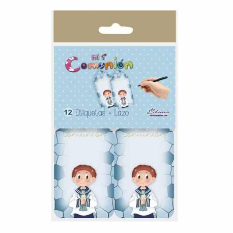 12 etiqueta para personalizar los regalos de comunión, niño marinero con vela