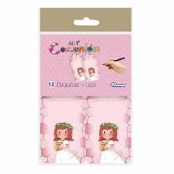 Pack 12 etiquetas colgante de Comunión niña con Cáliz pequeño