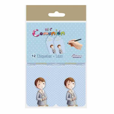 12 etiqueta para los obseqios de Comunión. Etiqueta niño con rosario, fondo azul con topos blancos