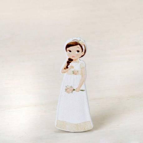 Figura 2D adhesiva niña comunión romántica