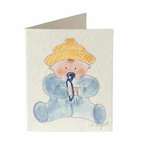 Etiqueta librito bebé con gorrito, para baby shower o bautizo, color azul