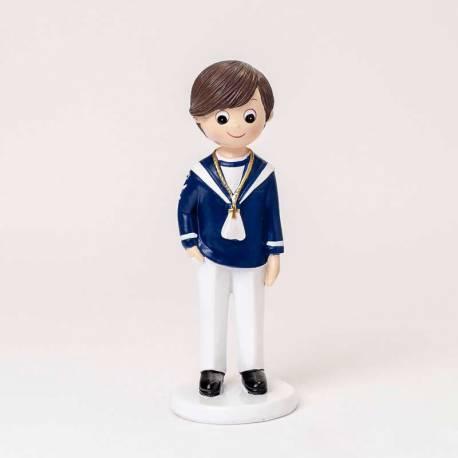 Niño marinero con camisa azul y pantalón blanco, muñeco para comunión