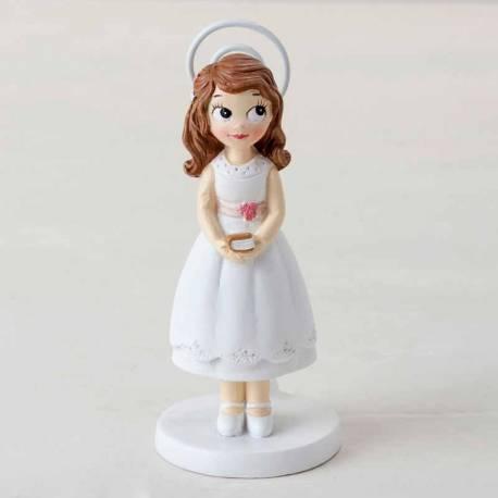 Portafotos de resina con clip niña con biblia, para Comunión