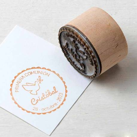 Sello de caucho para primera comunión, diseño paloma
