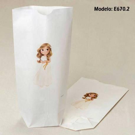 Bolsa papel blanco con estampación para comunión, para rellenar con dulces o detalles