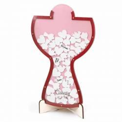 Cáliz para los deseos de los invitados de color rosa