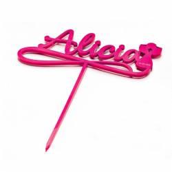 Cake toppers rosa personalizado con el nombre y un Cáliz