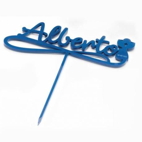 Cake toppers azul personalizado con el nombre y un Cáliz, para decorar la tarta