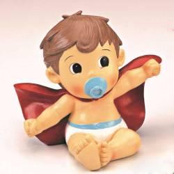 Figura bebé Super Héroe con capa y pañales, para tarta bautizo
