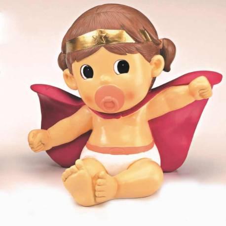 Figura bebé Super Héroina con capa y pañales, para tarta bautizo o cumpleaños
