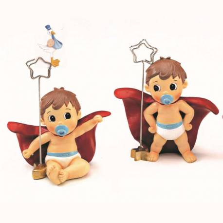 Clip portafotos o portanotas bebé Super Héroe con capa y pañales, recuerdo bautizo