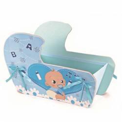 Caja bebé azul presentar los detalles bautizo