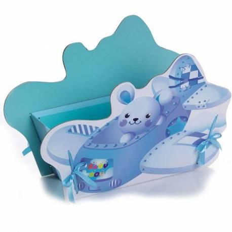 Expositor avión con osito azul para presentar los regalos de bautizo