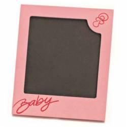 Marco de fotos baby rosa, recuerdo para bautizo