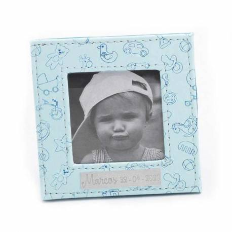 Marco de fotos piel en azul, decorado con motivos infantiles