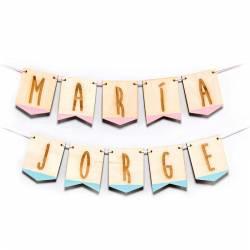 Guirnalda de madera, banderines con letras, personalizada con el nombre
