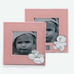 Marco de fotos piel en rosa, con motivos de bebé