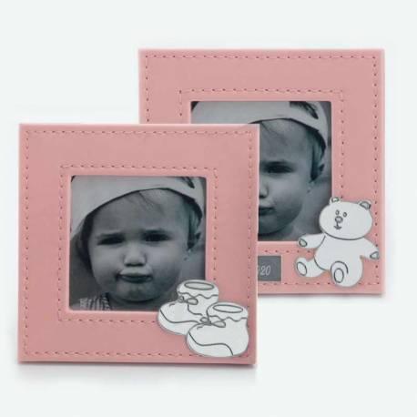Marco de fotos de color rosa, recuerdo para bautizos o baby shower