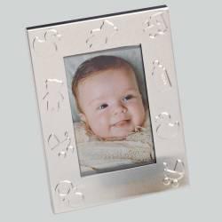 Marco de fotos en metal con motivos de bebé, recuerdo bautizo