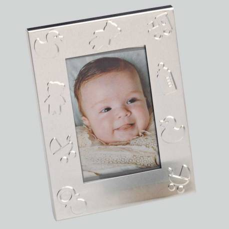 Marco de fotos de metal, decorado con motivos de bebé. Recuerdo para bautizo