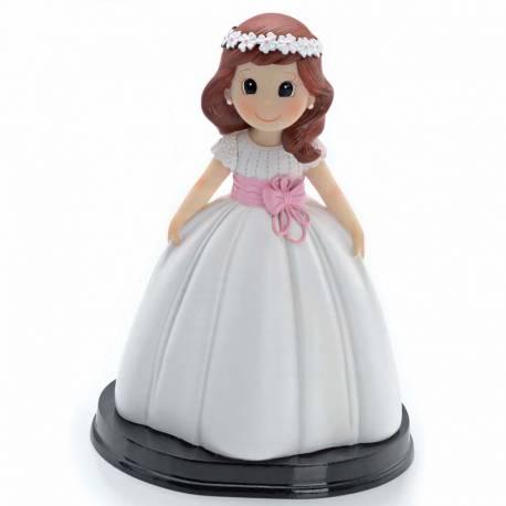 Figura para tarta de Comunión niña con lazo rosa