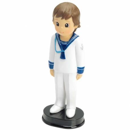 Figura para tarta, niño de Comunión, con traje de marinero ancla