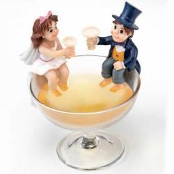 Figura tarta boda novios copa de champan