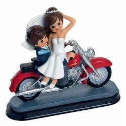 Figura tarta novios en moto