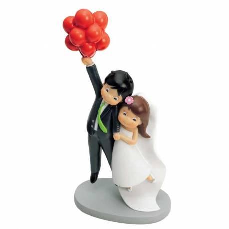 Figura para pastel, pareja de novios con globos