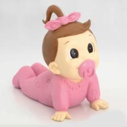 Figura tarta de bautizo niña con chupeta rosa