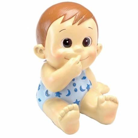 Figura bebé con pelelé azul, también es hucha