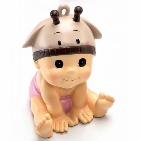 Figura para tarta de bautizo niña con gorrito de jirafa, también hucha
