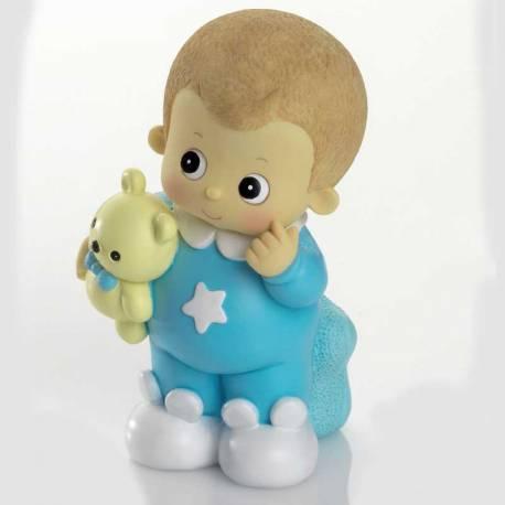 Figura bebé con pijama azul, también es hucha