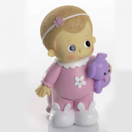 Figura para tarta de bautizo niña con pijama rosa