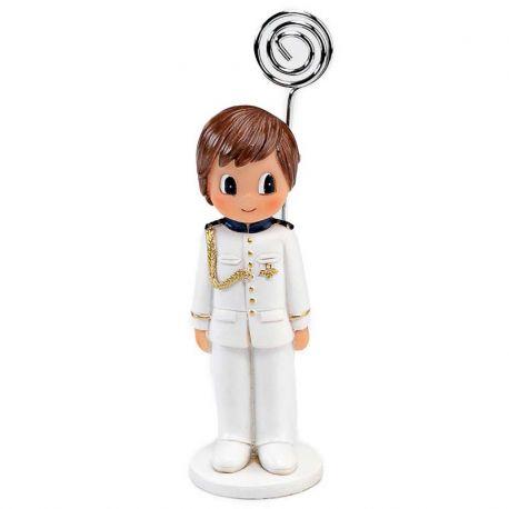 Figura niño con clip para foto, con traje de almirante. Recuerdo comunión