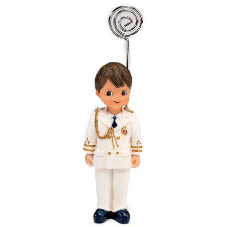 Portafotos niño Almirante, con traje blanco. Recuerdo de comunión