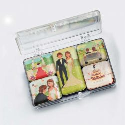 Set 5 imanes escenas boda en caja