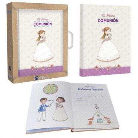 """Libro de firmas """"Mi Primera Comunión"""", niña con el Cáliz y el Pan"""
