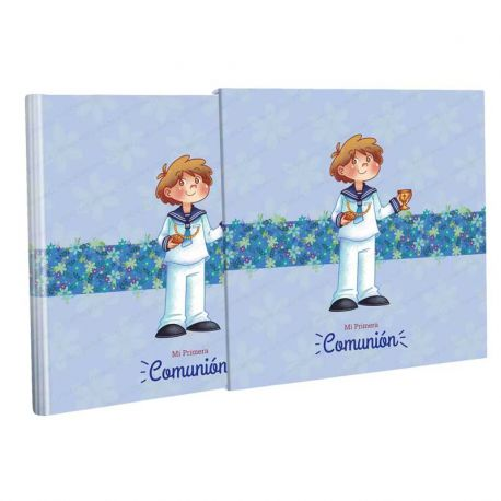 Libro Comunión con estuche, niño marinero con el Cáliz y el Pan