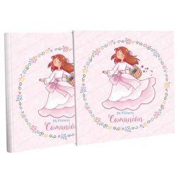 Libro Comunión con estuche, alegre niña con cesta de flores