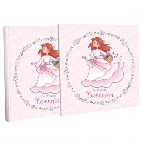 Libro Comunión con estuche, alegre niña con cesta de flores. Tamaño 31 x 30 cm.