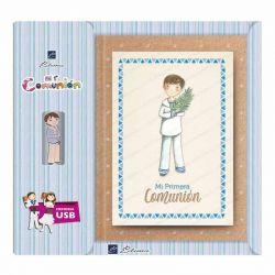 Libro de firmas Comunión con USB, niño marinero con rama de olivo
