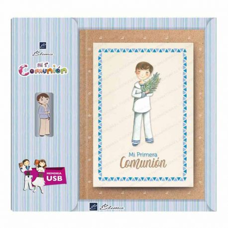 Libro de firmas Comunión con USB, niño marinero con rama de olivo. Tamaño 22 x 30 cm
