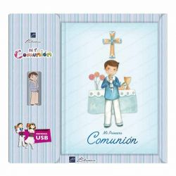 Libro de firmas Comunión con USB, niño marinero en el altar